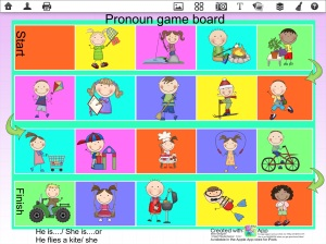 Pronoun game board