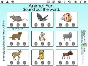 Animal Fun, sound out words