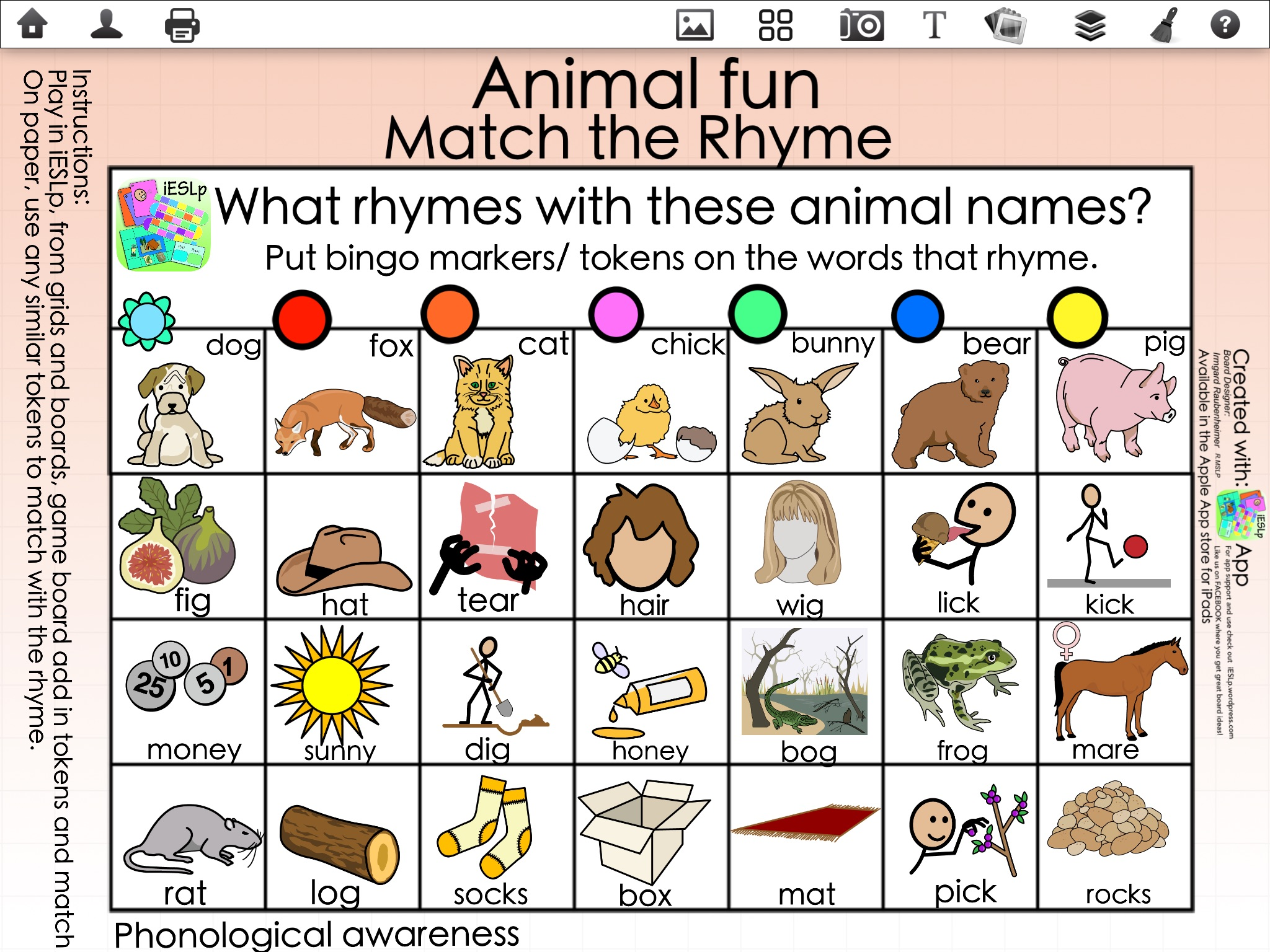 Worksheet Words That Rhyme With Animal animal fun with phonological awerness ieslp app game directions match the rhyme